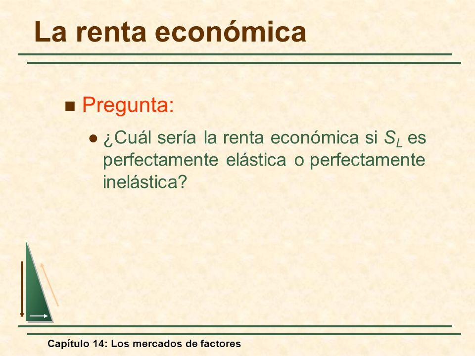 Capítulo 14: Los mercados de factores Pregunta: ¿Cuál sería la renta económica si S L es perfectamente elástica o perfectamente inelástica? La renta e