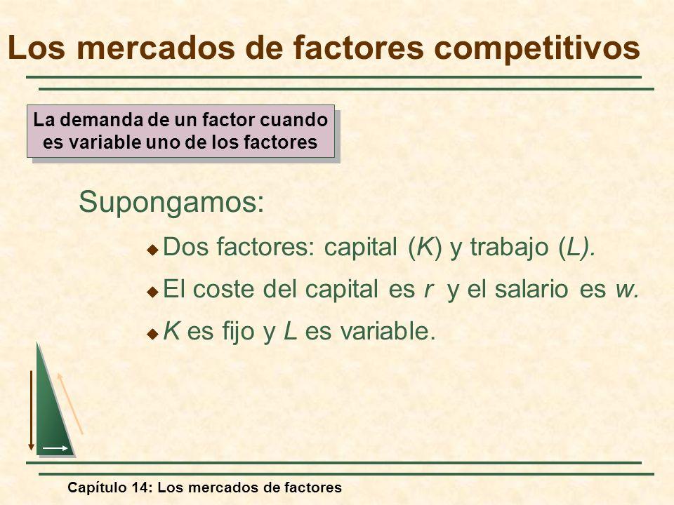 Capítulo 14: Los mercados de factores Supongamos: Dos factores: capital (K) y trabajo (L). El coste del capital es r y el salario es w. K es fijo y L