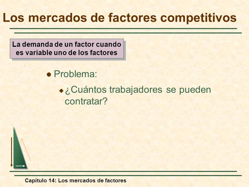 Capítulo 14: Los mercados de factores Problema: ¿Cuántos trabajadores se pueden contratar? Los mercados de factores competitivos La demanda de un fact