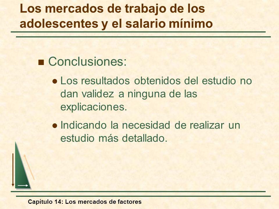 Capítulo 14: Los mercados de factores Conclusiones: Los resultados obtenidos del estudio no dan validez a ninguna de las explicaciones. Indicando la n