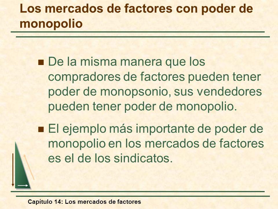 Capítulo 14: Los mercados de factores Los mercados de factores con poder de monopolio De la misma manera que los compradores de factores pueden tener