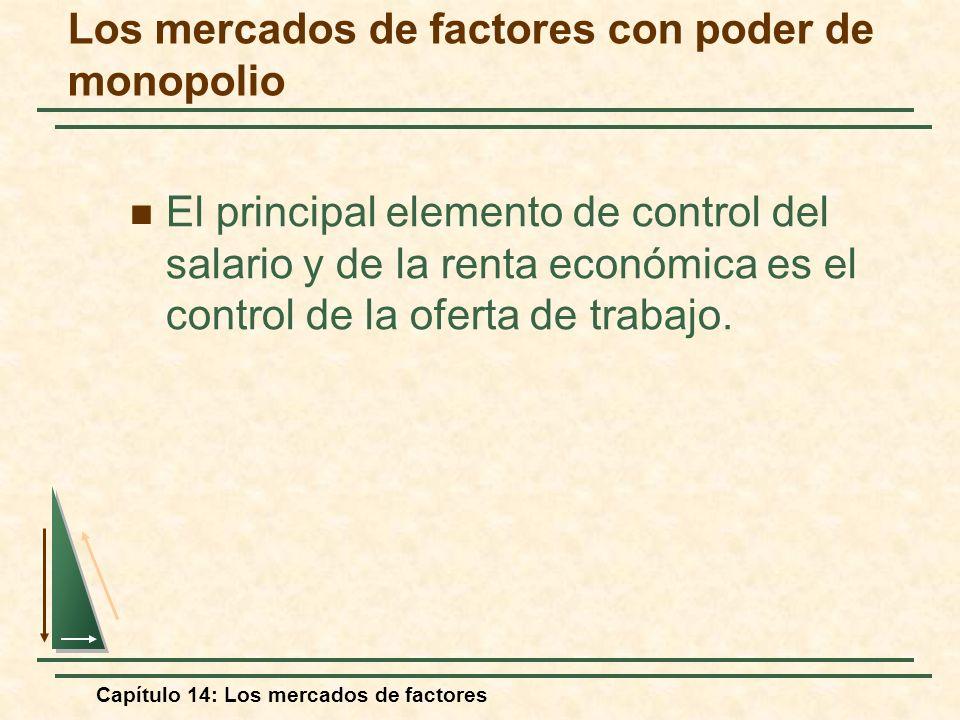 Capítulo 14: Los mercados de factores El principal elemento de control del salario y de la renta económica es el control de la oferta de trabajo. Los