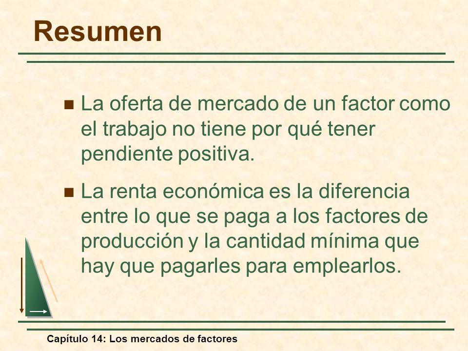 Capítulo 14: Los mercados de factores La oferta de mercado de un factor como el trabajo no tiene por qué tener pendiente positiva. La renta económica