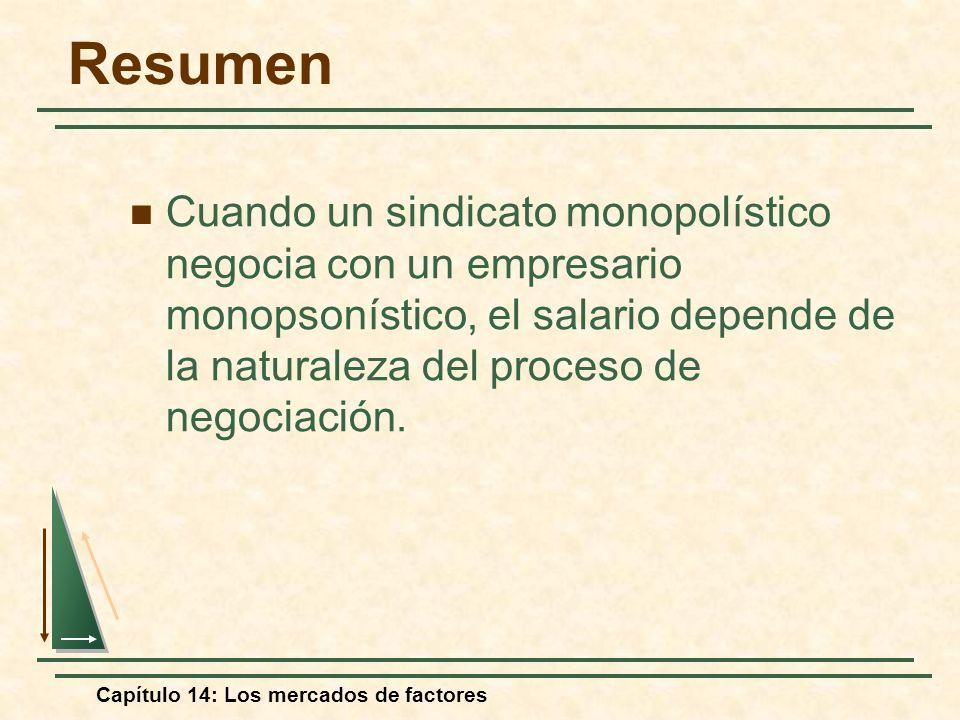 Capítulo 14: Los mercados de factores Cuando un sindicato monopolístico negocia con un empresario monopsonístico, el salario depende de la naturaleza