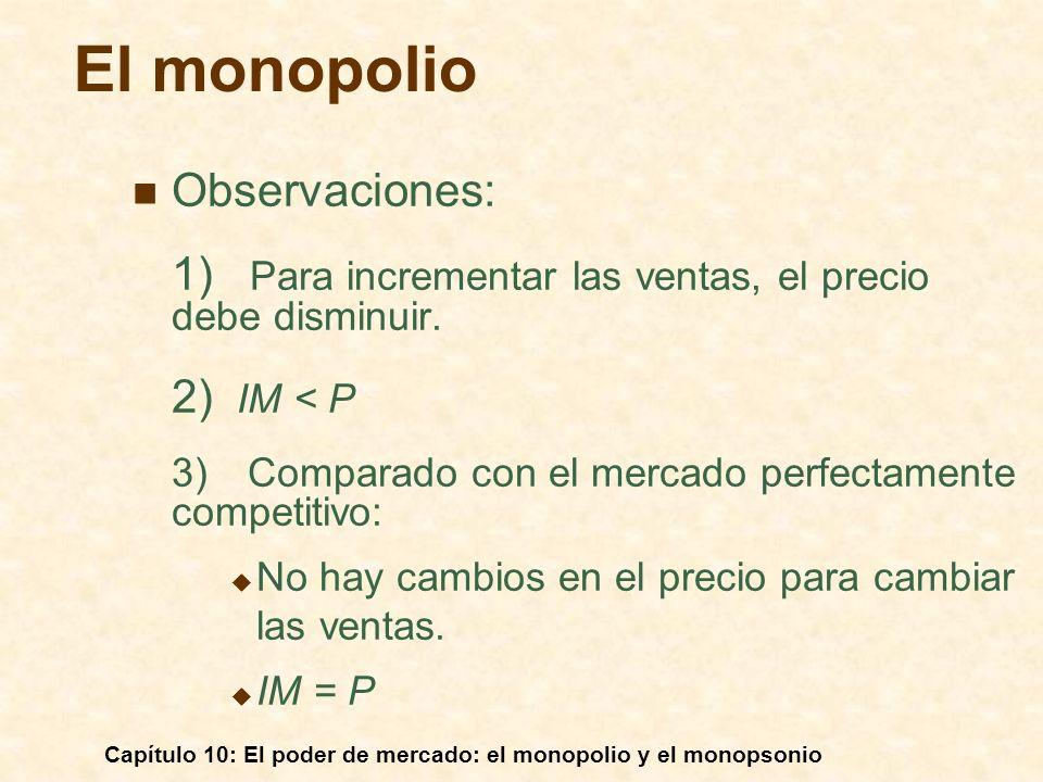 Capítulo 10: El poder de mercado: el monopolio y el monopsonio Observaciones: 1) Para incrementar las ventas, el precio debe disminuir. 2) IM < P 3) C