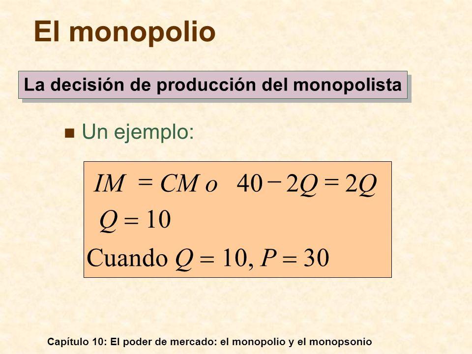 Capítulo 10: El poder de mercado: el monopolio y el monopsonio Un ejemplo: Cuando Q 10, P 30 2240 QQCM oIM El monopolio La decisión de producción del