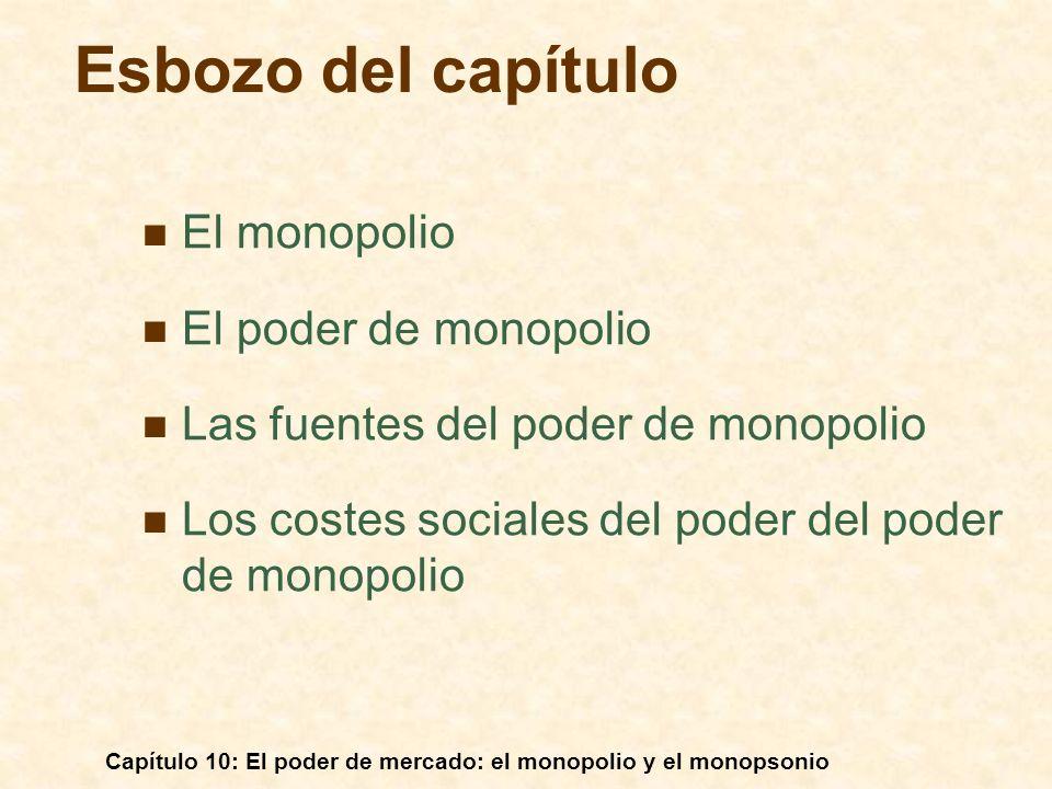 Capítulo 10: El poder de mercado: el monopolio y el monopsonio El monopolio El poder de monopolio Las fuentes del poder de monopolio Los costes social