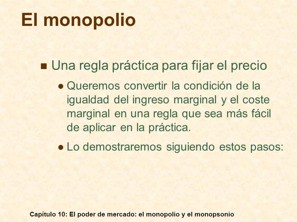 Capítulo 10: El poder de mercado: el monopolio y el monopsonio Una regla práctica para fijar el precio Queremos convertir la condición de la igualdad