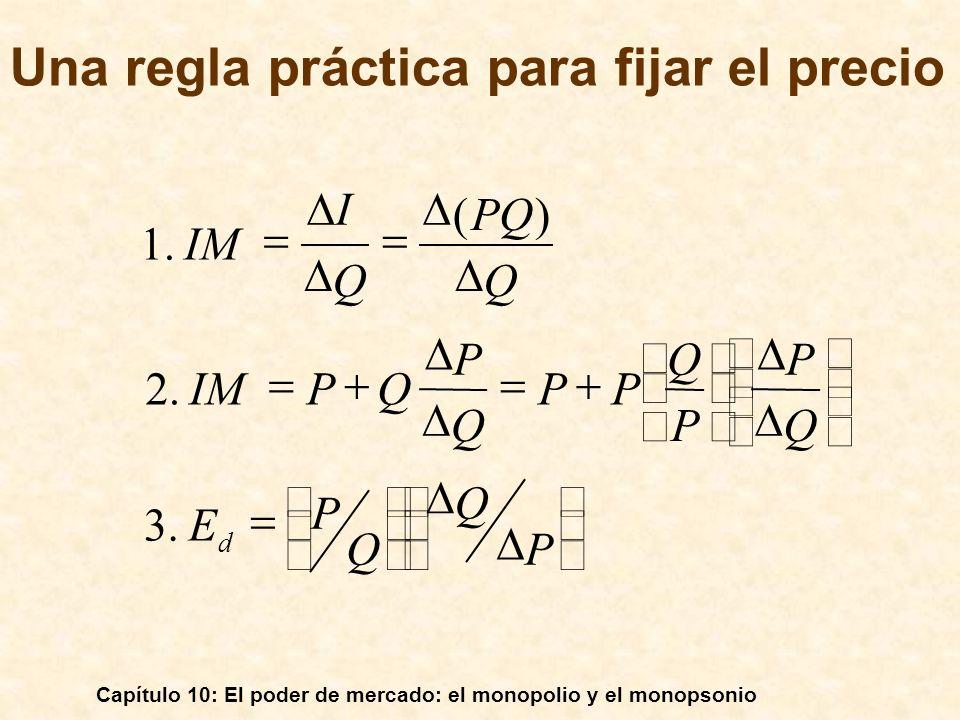 Capítulo 10: El poder de mercado: el monopolio y el monopsonio Una regla práctica para fijar el precio I P Q Q P E Q P P Q PP Q P QPIM Q PQ Q IM d.3.2