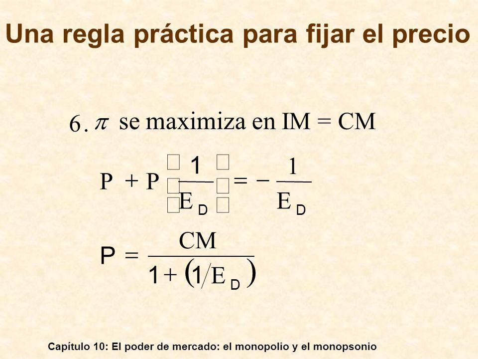 Capítulo 10: El poder de mercado: el monopolio y el monopsonio D DD E 11 CM P EE 1 P P 1.6 se maximiza en IM = CM Una regla práctica para fijar el pre