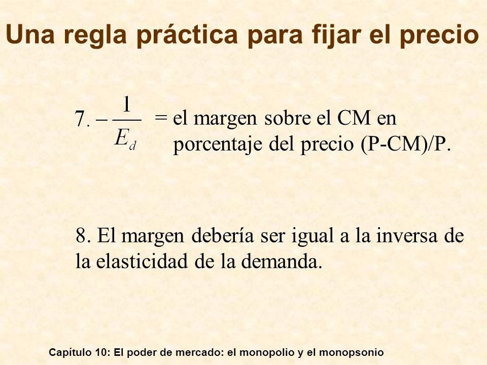 Capítulo 10: El poder de mercado: el monopolio y el monopsonio = el margen sobre el CM en porcentaje del precio (P-CM)/P. 8. El margen debería ser igu