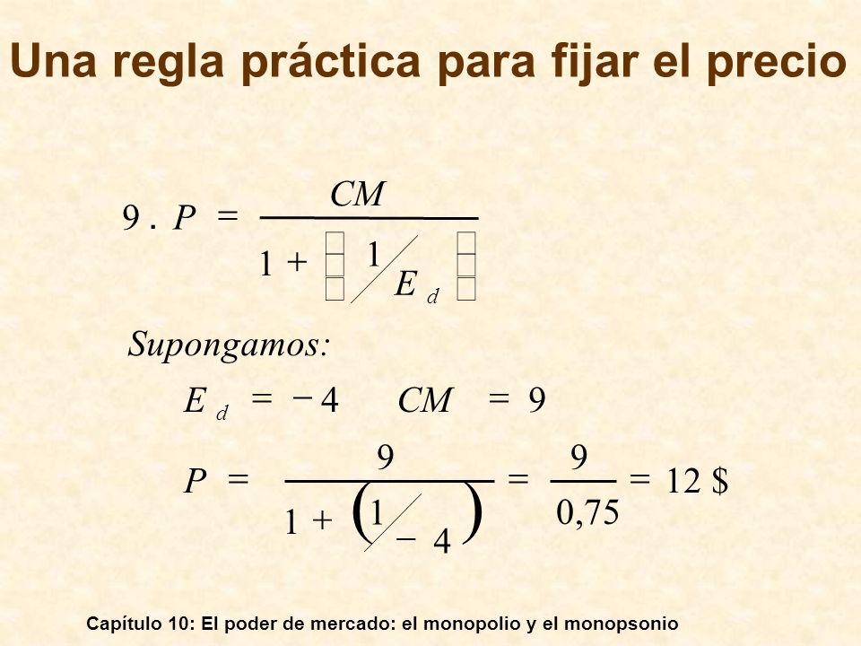 Capítulo 10: El poder de mercado: el monopolio y el monopsonio 12 $ 0,75 9 4 1 1 9 94 1 1 9. P CME Supongamos: E CM P d d Una regla práctica para fija