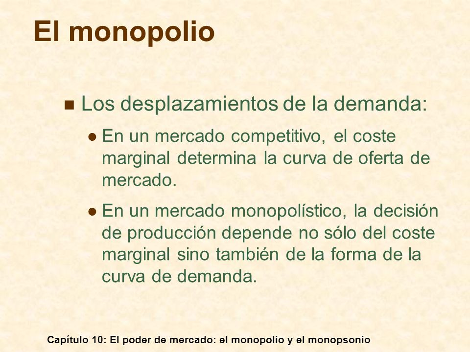 Capítulo 10: El poder de mercado: el monopolio y el monopsonio Los desplazamientos de la demanda: En un mercado competitivo, el coste marginal determi