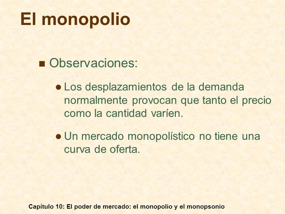 Capítulo 10: El poder de mercado: el monopolio y el monopsonio Observaciones: Los desplazamientos de la demanda normalmente provocan que tanto el prec