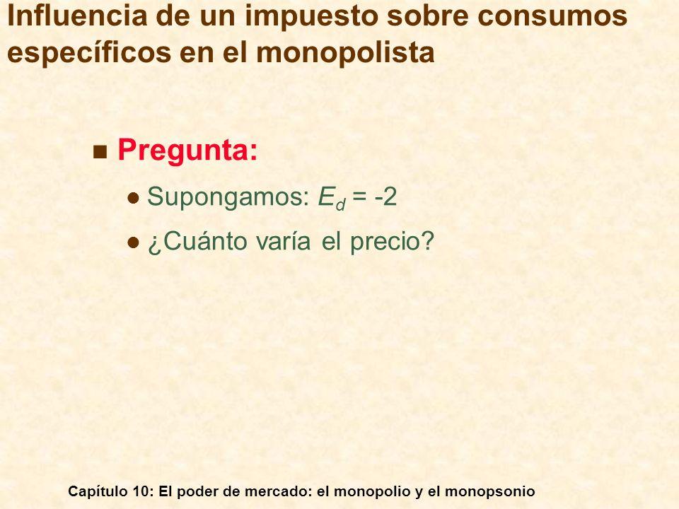 Capítulo 10: El poder de mercado: el monopolio y el monopsonio Pregunta: Supongamos: E d = -2 ¿Cuánto varía el precio? Influencia de un impuesto sobre