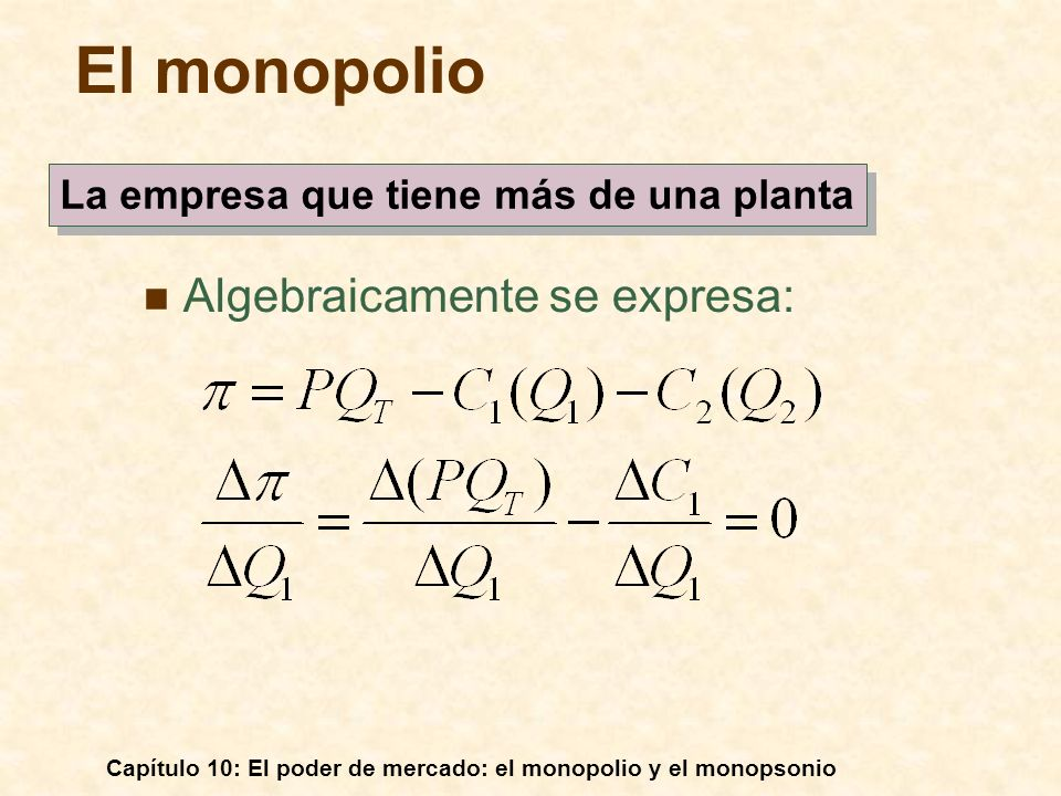 Capítulo 10: El poder de mercado: el monopolio y el monopsonio Algebraicamente se expresa: El monopolio La empresa que tiene más de una planta