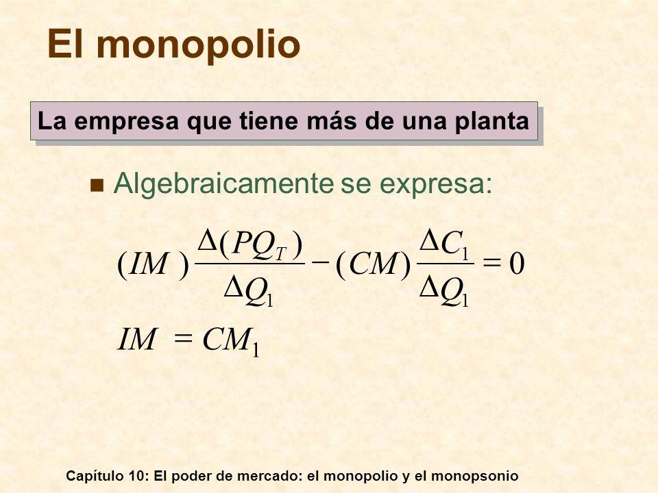 Capítulo 10: El poder de mercado: el monopolio y el monopsonio Algebraicamente se expresa: 1 1 1 0)( )( )( CM 1 IM Q C CM Q PQ IM T El monopolio La em