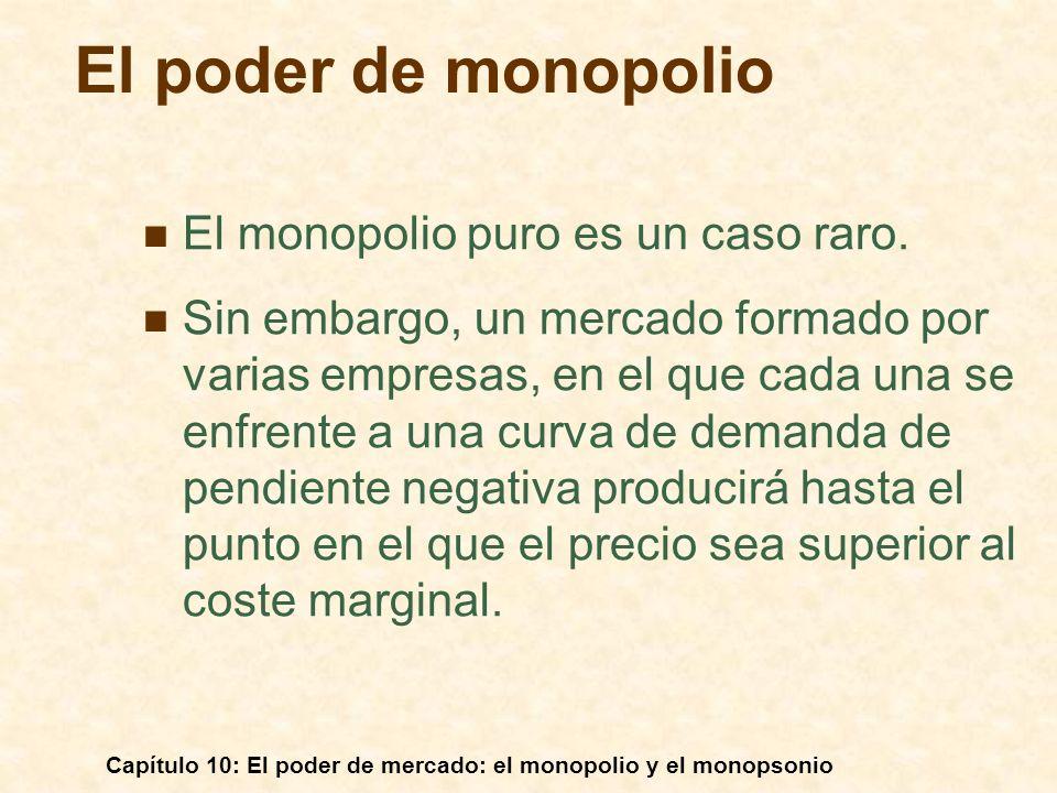 Capítulo 10: El poder de mercado: el monopolio y el monopsonio El poder de monopolio El monopolio puro es un caso raro. Sin embargo, un mercado formad