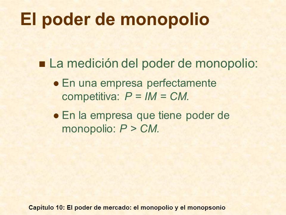 Capítulo 10: El poder de mercado: el monopolio y el monopsonio La medición del poder de monopolio: En una empresa perfectamente competitiva: P = IM =