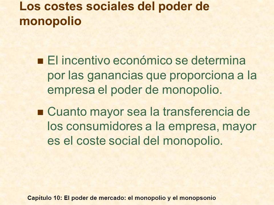 Capítulo 10: El poder de mercado: el monopolio y el monopsonio El incentivo económico se determina por las ganancias que proporciona a la empresa el p
