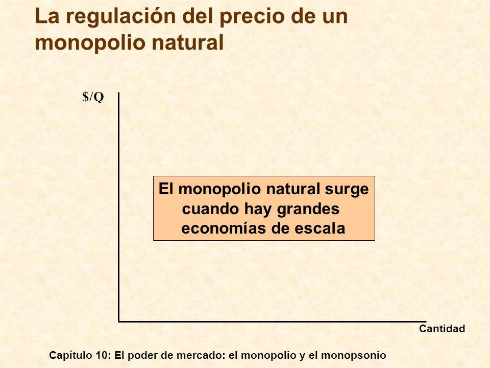 Capítulo 10: El poder de mercado: el monopolio y el monopsonio La regulación del precio de un monopolio natural $/Q El monopolio natural surge cuando