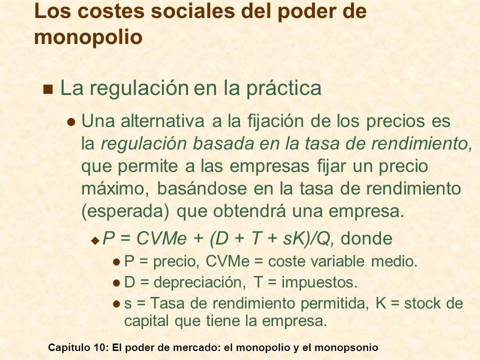 Capítulo 10: El poder de mercado: el monopolio y el monopsonio La regulación en la práctica Una alternativa a la fijación de los precios es la regulac