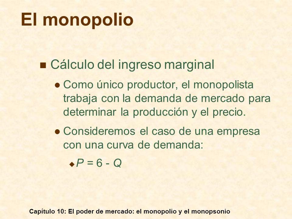 Capítulo 10: El poder de mercado: el monopolio y el monopsonio Observaciones: 1)CM T = CM 1 + CM 2 2)Niveles de producción que maximizan los beneficios: CM T = IM para Q T y P * IM = IM* IM* = CM 1 para Q 1, CM* = CM 2 para Q 2 CM 1 + CM 2 = CM T, Q 1 + Q 2 = Q T, e IM = CM 1 + CM 2 Cantidad $/Q D = IMe IM CM 1 CM 2 CM T IM* Q1Q1 Q2Q2 Q3Q3 P* La producción con dos plantas