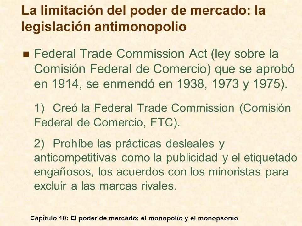 Capítulo 10: El poder de mercado: el monopolio y el monopsonio Federal Trade Commission Act (ley sobre la Comisión Federal de Comercio) que se aprobó