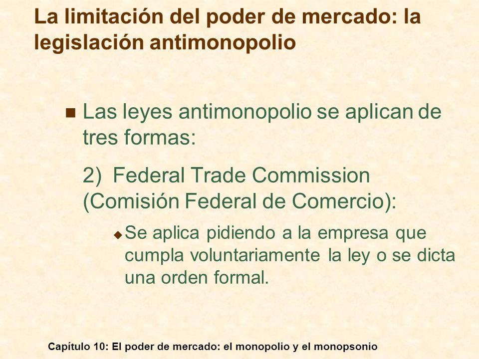 Capítulo 10: El poder de mercado: el monopolio y el monopsonio Las leyes antimonopolio se aplican de tres formas: 2)Federal Trade Commission (Comisión