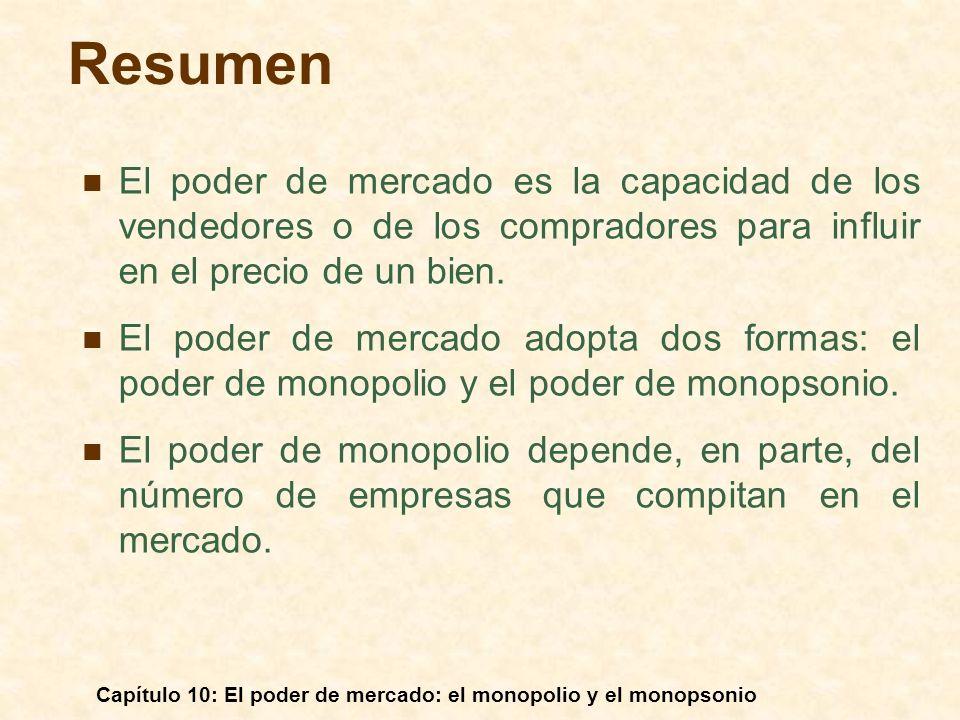 Capítulo 10: El poder de mercado: el monopolio y el monopsonio Resumen El poder de mercado es la capacidad de los vendedores o de los compradores para