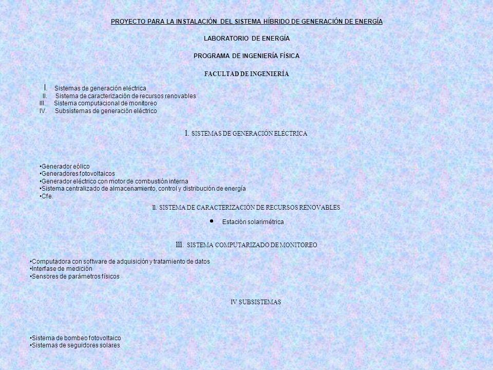 PROYECTO PARA LA INSTALACIÓN DEL SISTEMA HÍBRIDO DE GENERACIÓN DE ENERGÍA LABORATORIO DE ENERGÍA PROGRAMA DE INGENIERÍA FÍSICA FACULTAD DE INGENIERÍA