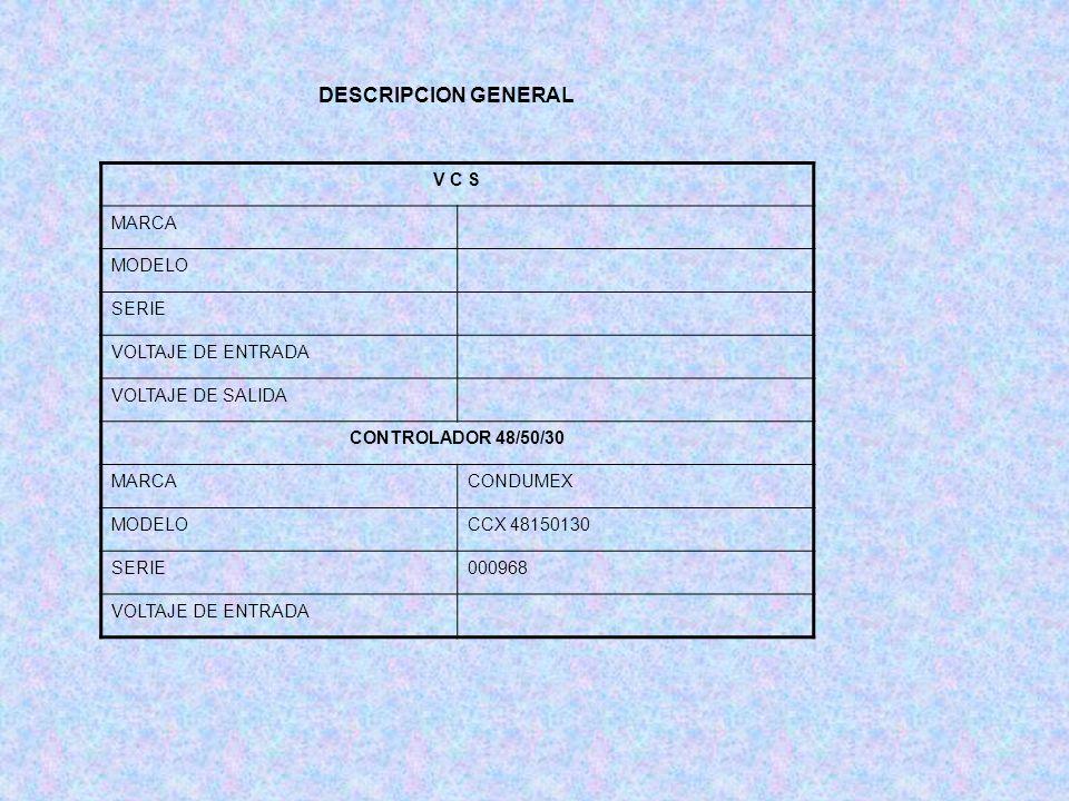 DESCRIPCION GENERAL V C S MARCA MODELO SERIE VOLTAJE DE ENTRADA VOLTAJE DE SALIDA CONTROLADOR 48/50/30 MARCACONDUMEX MODELOCCX 48150130 SERIE000968 VO