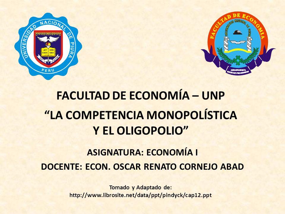 Capítulo 12: La competencia monopolística y el oligopolio La fijación del precio en una empresa dominante Precio Cantidad DD QDQD P* A este precio, las empresas periféricas venden Q P, por lo que las ventas totales son Q T.