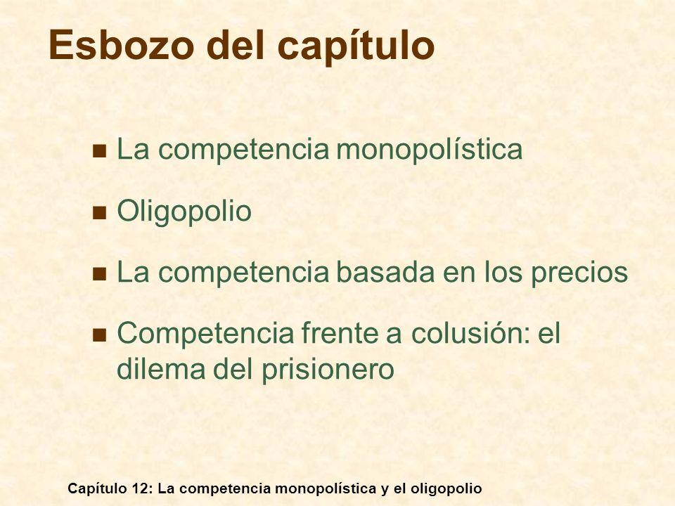 Capítulo 12: La competencia monopolística y el oligopolio Un ejemplo de equilibrio de Cournot: Duopolio: La demanda de mercado es P = 30 - Q, donde Q = Q 1 + Q 2 CM 1 = CM 2 = 0 Una curva de demanda lineal Oligopolio
