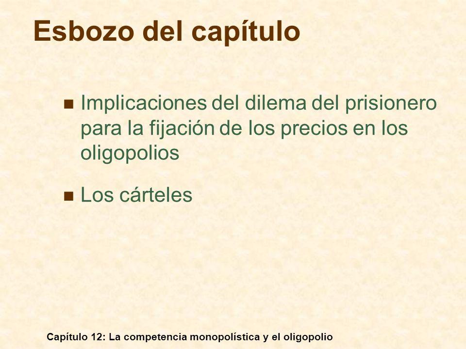 Capítulo 12: La competencia monopolística y el oligopolio Supuestos: La demanda de la Empresa 1 es Q 1 = 12 - 2P 1 + P 2 La demanda de la Empresa 2 es Q 2 = 12 - 2P 1 + P 1 P 1 y P 2 son los precios que cobran las Empresas 1 y 2, respectivamente.