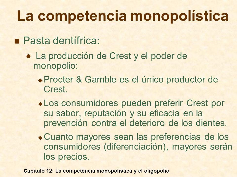 Capítulo 12: La competencia monopolística y el oligopolio La curva de demanda quebrada $/Q Cantidad IM D Si la empresa baja los precios, sus competidoras harán lo mismo y la demanda será inelástica.