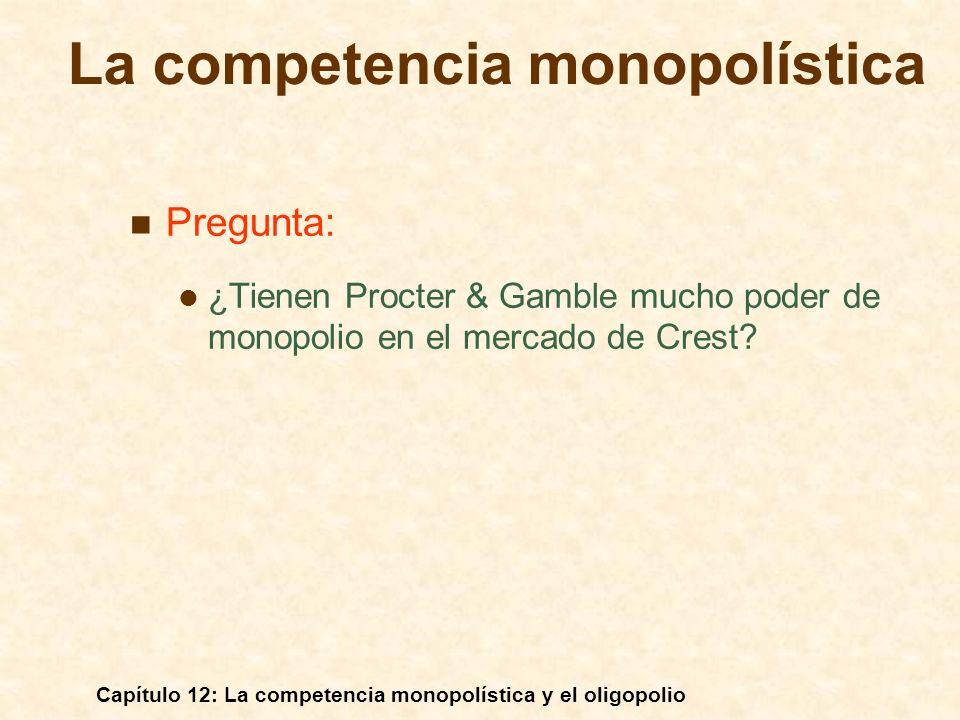 Capítulo 12: La competencia monopolística y el oligopolio La matriz de pagos correspondiente al juego de los precios Empresa 2 Empresa 1 Cobrar 4$Cobrar 6$ Cobrar 4$ Cobrar 6$ 12$, 12$20$, 4$ 16$, 16$4$, 20$