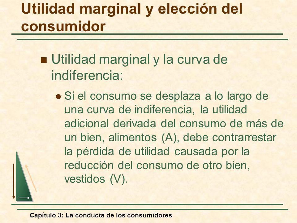 Capítulo 3: La conducta de los consumidores Utilidad marginal y la curva de indiferencia: Si el consumo se desplaza a lo largo de una curva de indifer