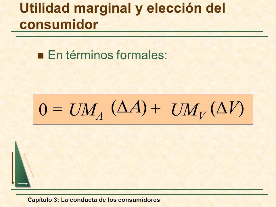 Capítulo 3: La conducta de los consumidores En términos formales: UM V UM A V) 0 Utilidad marginal y elección del consumidor