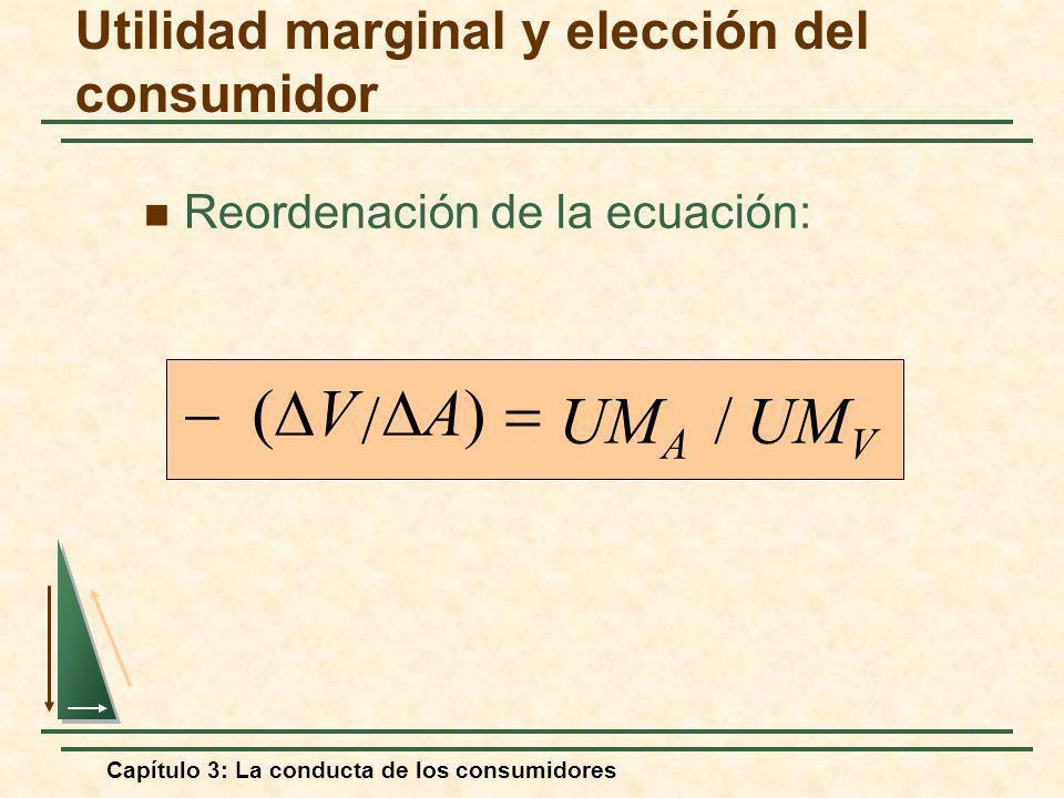 Capítulo 3: La conducta de los consumidores Reordenación de la ecuación: UM V UM A // A) V Utilidad marginal y elección del consumidor