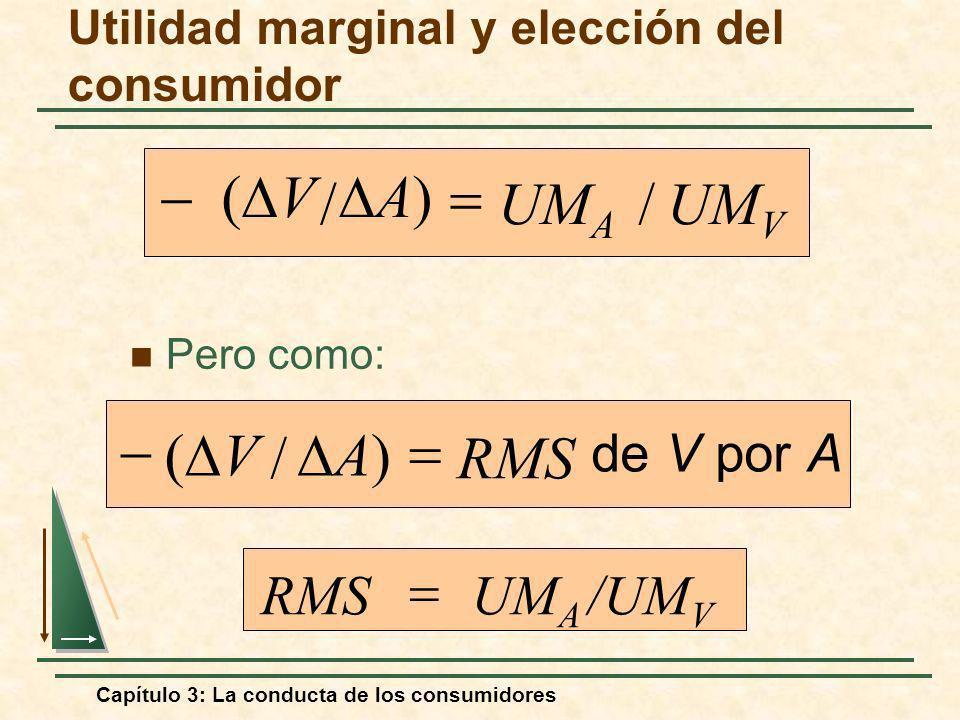 Capítulo 3: La conducta de los consumidores Pero como: /UM V UM A RMS Utilidad marginal y elección del consumidor UM V UM A // A) V de V por A RMS / V