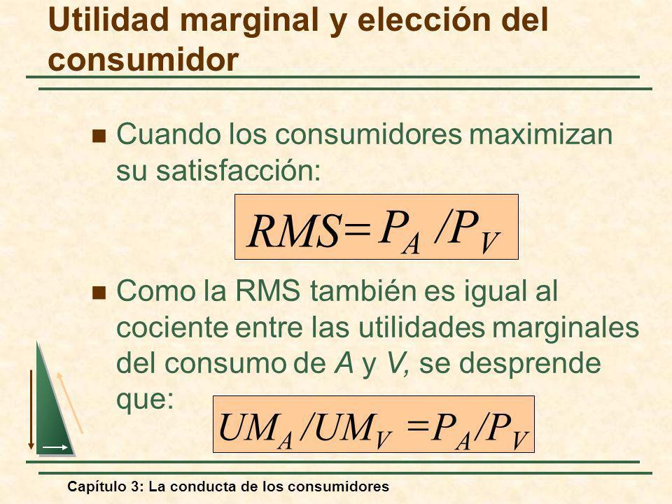 Capítulo 3: La conducta de los consumidores Cuando los consumidores maximizan su satisfacción: /P V P A RMS /P V P A /UM V UM A Como la RMS también es