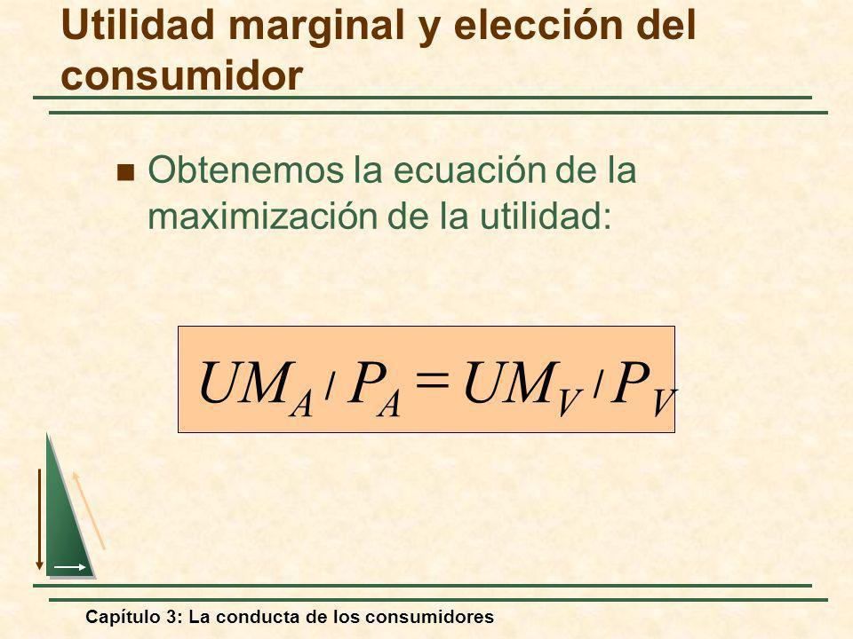 Capítulo 3: La conducta de los consumidores Obtenemos la ecuación de la maximización de la utilidad: //PVPV UM V PAPA UM A Utilidad marginal y elecció