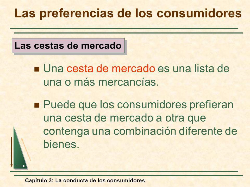 Capítulo 3: La conducta de los consumidores Las preferencias de los consumidores Una cesta de mercado es una lista de una o más mercancías. Puede que