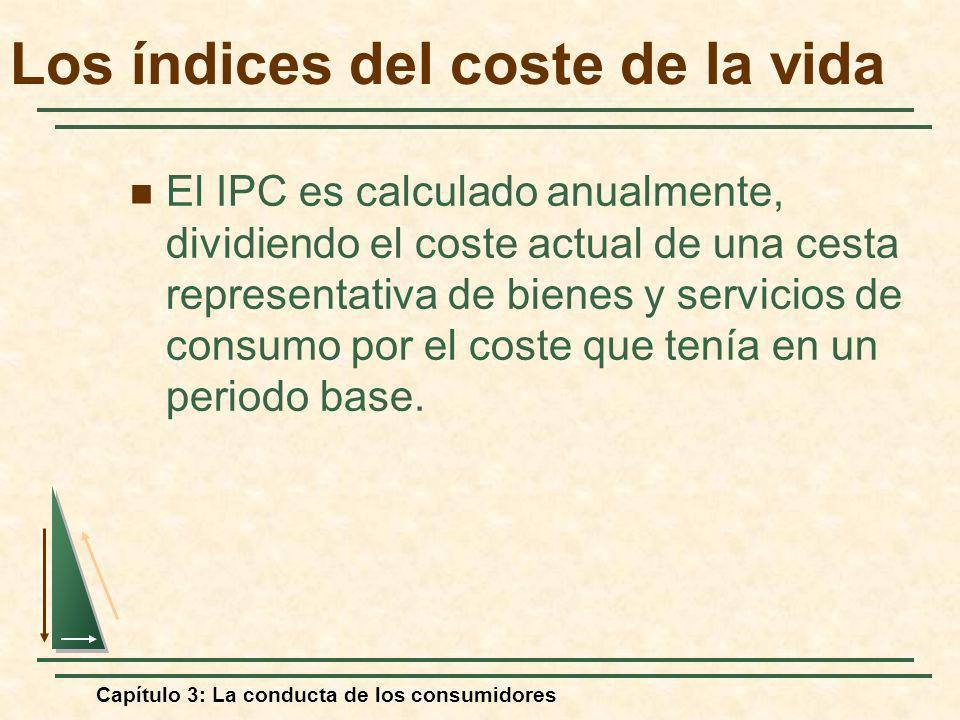 Capítulo 3: La conducta de los consumidores Los índices del coste de la vida El IPC es calculado anualmente, dividiendo el coste actual de una cesta r