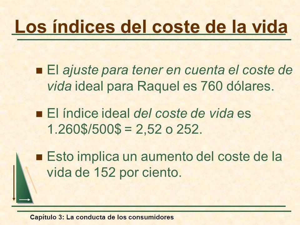 Capítulo 3: La conducta de los consumidores El ajuste para tener en cuenta el coste de vida ideal para Raquel es 760 dólares. El índice ideal del cost