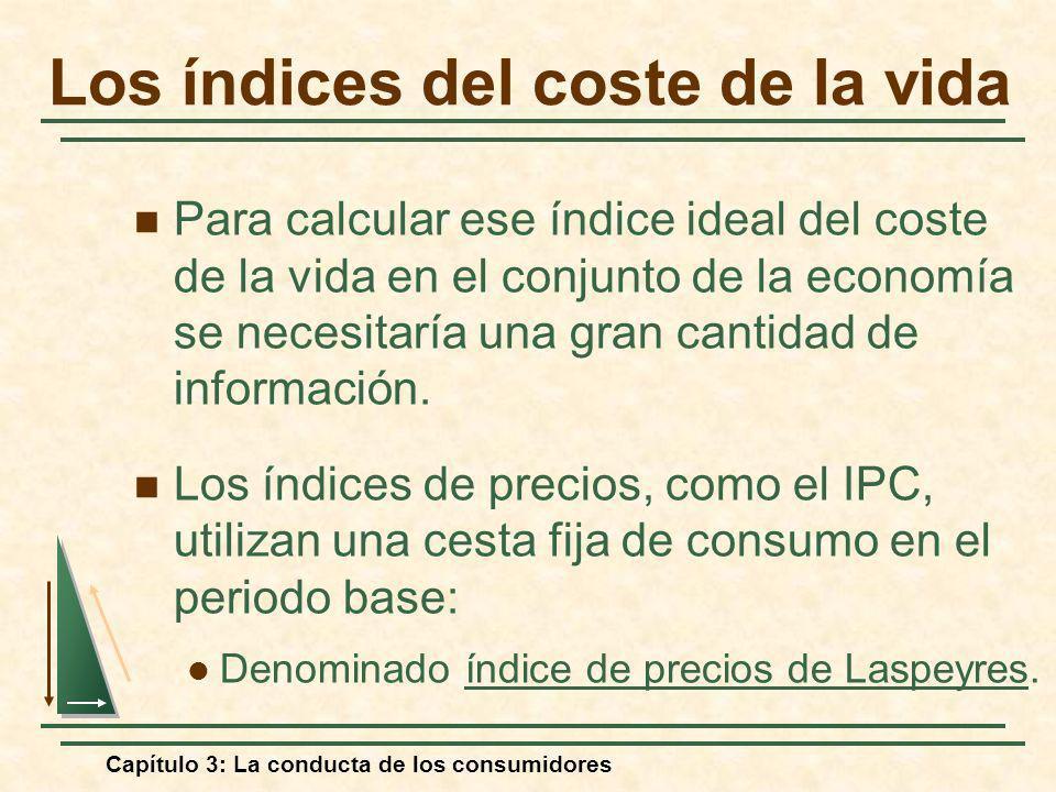 Capítulo 3: La conducta de los consumidores Para calcular ese índice ideal del coste de la vida en el conjunto de la economía se necesitaría una gran
