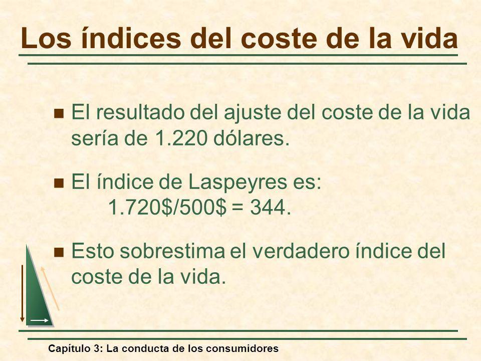 Capítulo 3: La conducta de los consumidores El resultado del ajuste del coste de la vida sería de 1.220 dólares. El índice de Laspeyres es: 1.720$/500