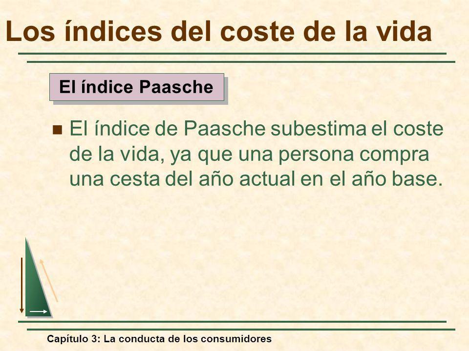 Capítulo 3: La conducta de los consumidores El índice de Paasche subestima el coste de la vida, ya que una persona compra una cesta del año actual en