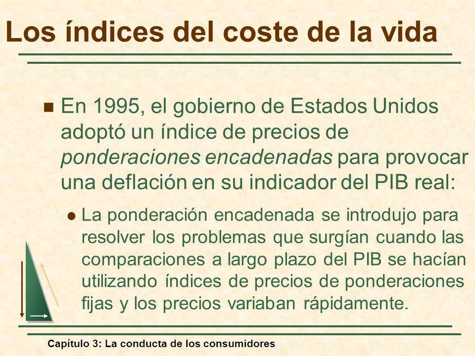 Capítulo 3: La conducta de los consumidores En 1995, el gobierno de Estados Unidos adoptó un índice de precios de ponderaciones encadenadas para provo
